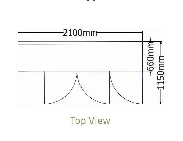 Bàn mát 3 cánh kiếng thành sau-Berjaya (B 3D/C7/6-S) - kt 1