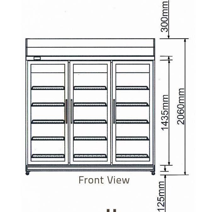 chiều cao Tủ mát 3 cánh kiếng-Berjaya (3D/DC-S)